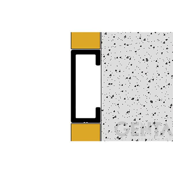 Hình ảnh thi công Nẹp U nhôm 20mm LA208, màu vàng bóng