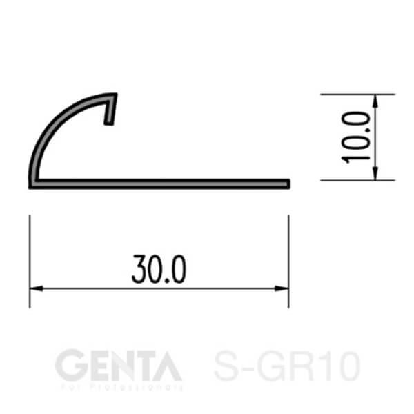 Mặt cắt nẹp inox ốp góc tròn S-GR10