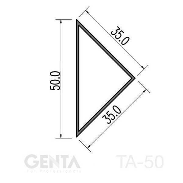 Kích thước chi tiết nẹp nhựa vát góc TA-50
