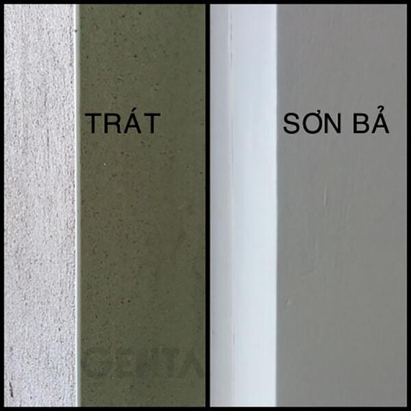 Cạnh tường được trát và sau khi sơn bả