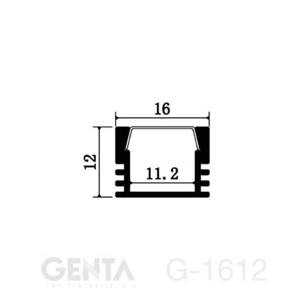Mặt cắt nẹp nhôm Profile Led G-1612