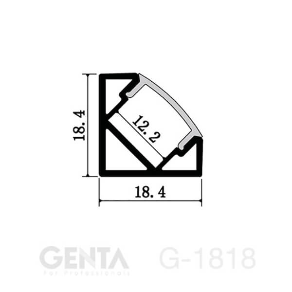 Mặt cắt Nẹp nhôm Profile Led G-1818