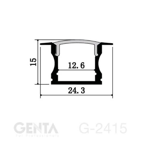 Mặt cắt đèn led thanh nhôm G-2415