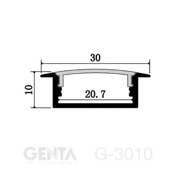 Mặt cắt đèn led thanh nhôm G-3010
