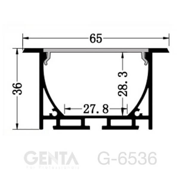 Bản vẽ Nẹp nhôm Profile Led G-6536