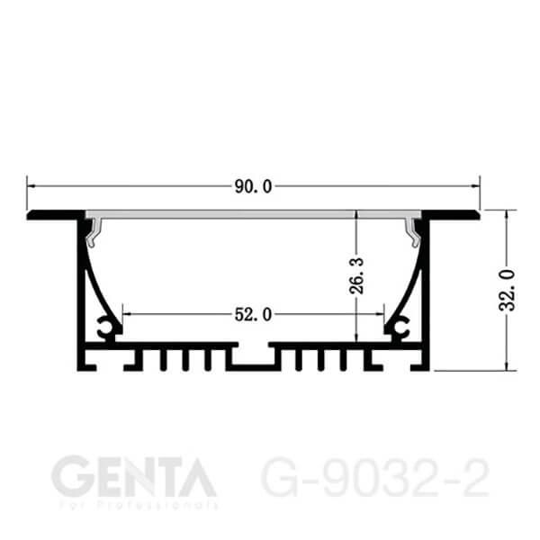 Mặt cắt đèn led thanh nhôm G-9032-2