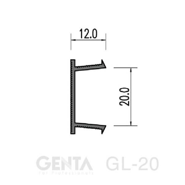 Bản vẽ nẹp chỉ âm tường GL-20 GENTA
