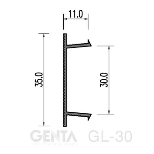 Bản vẽ nẹp chỉ âm tường GL-30