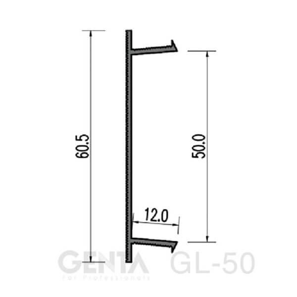 Bản vẽ nẹp chỉ âm tường GL-50