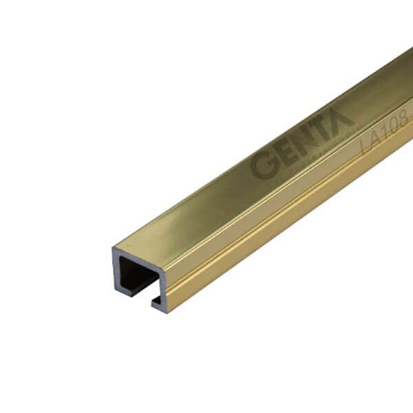 Nẹp U nhôm 10mm LA108, màu vàng bóng