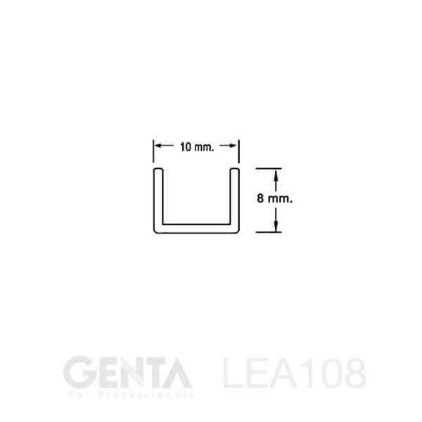 Bản vẽ Nẹp U nhôm 10mm LEA108, đen mờ