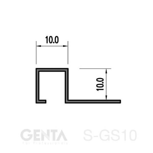 Bản vẽ Nẹp inox ốp góc vuông S-GS10, vàng bóng