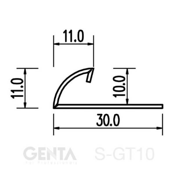 Mặt cắt nẹp inox ốp góc tròn S-GT10