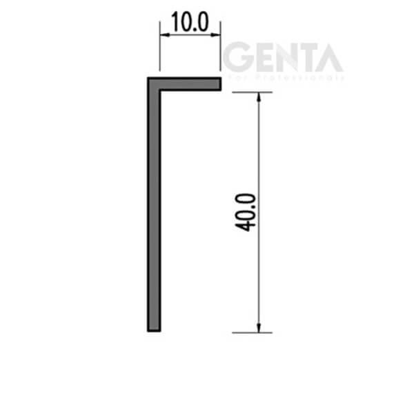 Mặt cắt nẹp len âm chân tường nhựa L10-40