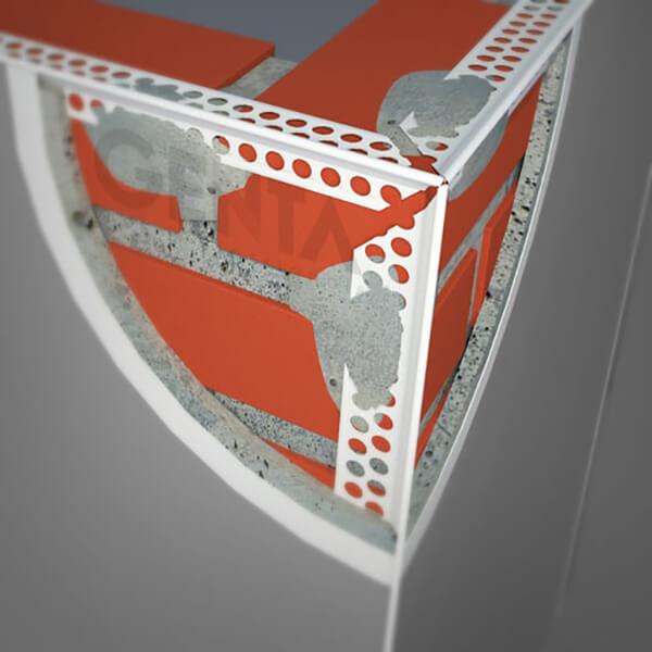 Nẹp góc trát tường được gắn tại góc giao