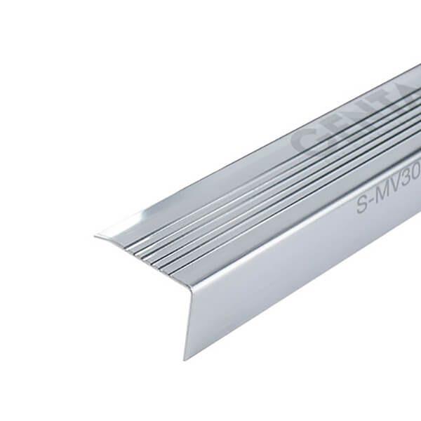Nẹp chống trơn mũi bậc cầu thang inox S-MV30, inox xước