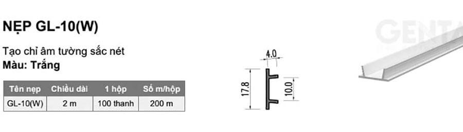 Thông số kỹ thuật nẹp chỉ âm tường GL-10