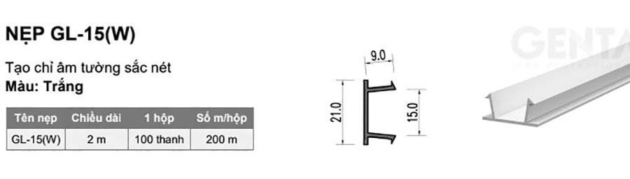 Cấu tạo và kích thước của nẹp nhựa chữ U GL-15