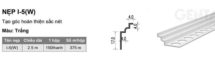 Thông số kỹ thuật nẹp nhựa trát góc âm I-5 (W), trắng