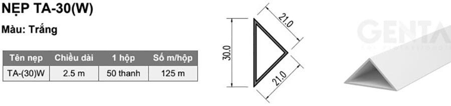 Thông tin chi tiết nẹp vát góc TA-30 màu trắng