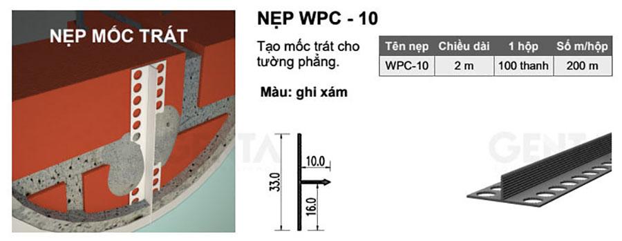 Thông số kỹ thuật nẹp nhựa mốc trát tường WPC-10