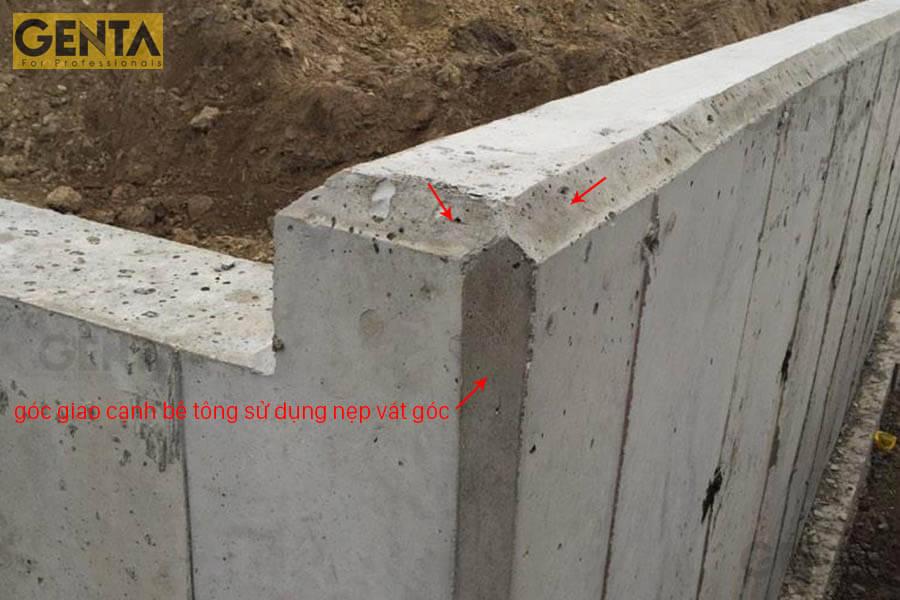 Hình ảnh cạnh tường bê tông hoàn thiện sau khi dùng nẹp vát góc
