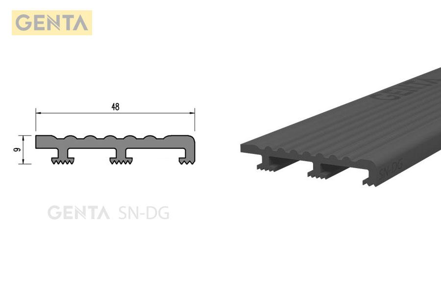 Hình ảnh chi tiết và mặt cắt nẹp nhựa chống trượt cầu thang SN-DG