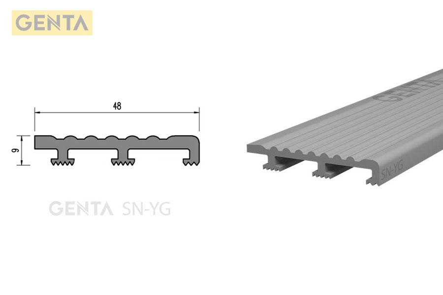 Hình ảnh chi tiết mặt cắt nẹp nhựa chống trượt cầu thang SN-YG