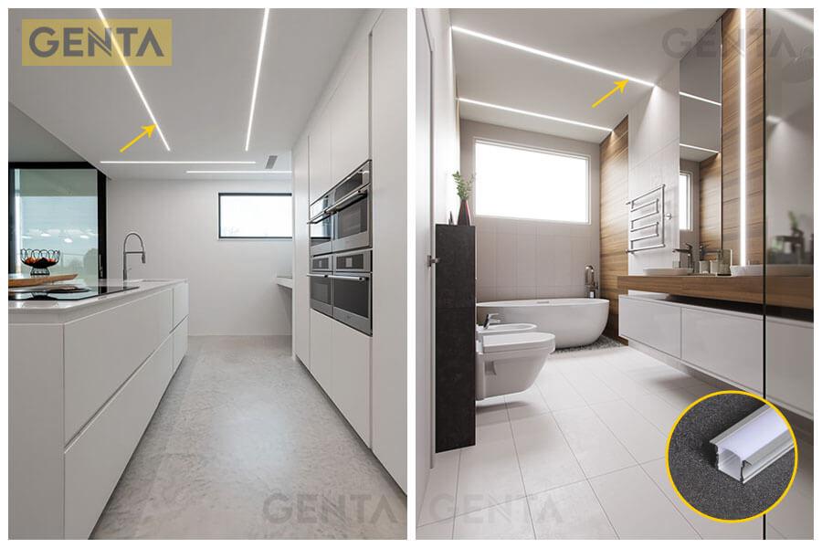 Thanh led nhôm G-2415 gắn âm trần trang trí cho không gian nội thất