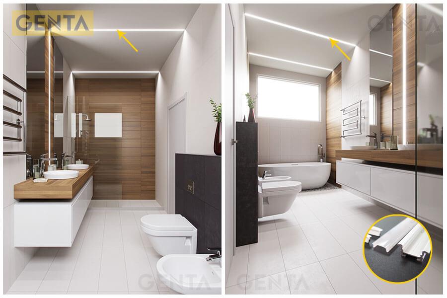 Khu vệ sinh được chiếu sáng bằng đèn led thanh nhôm G-3010