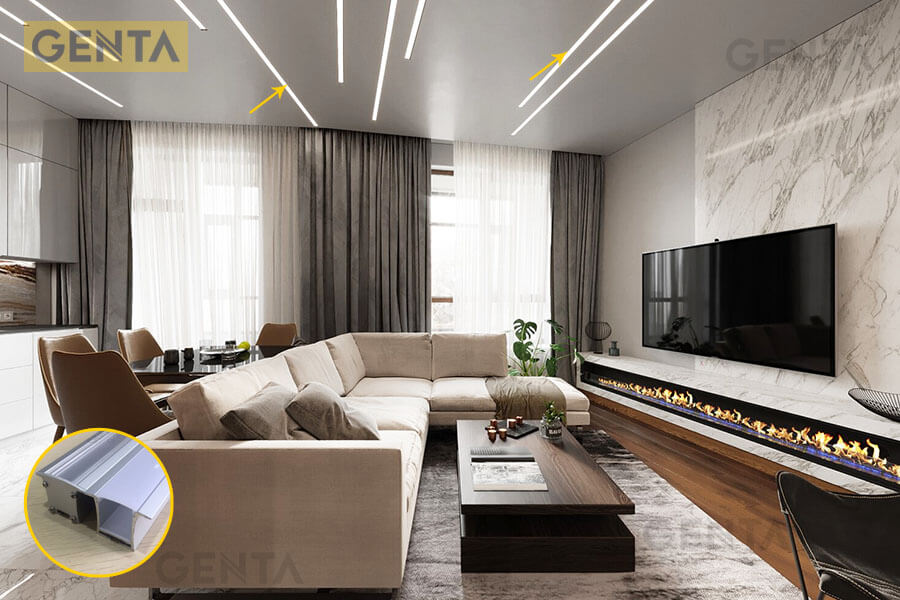 Đèn led thanh nhôm G-3628 trang trí cho phòng khách