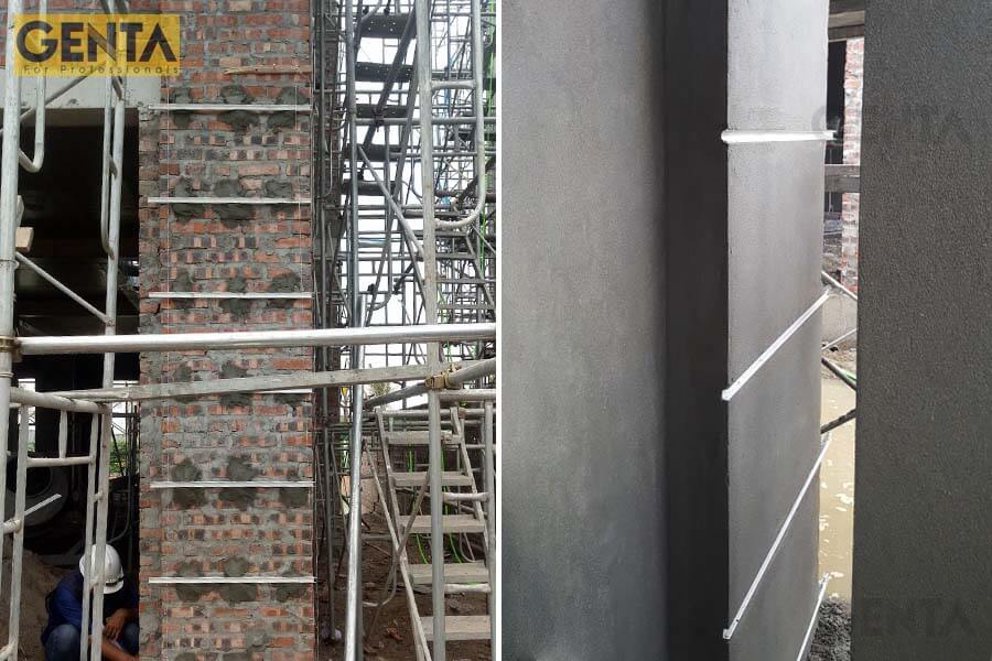 Công trình Vinhomes harmony thi công nẹp chỉ âm tường