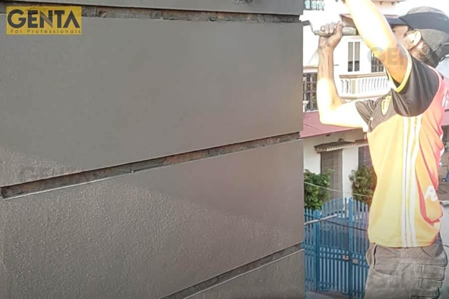Hình ảnh thi công thực tế nẹp chỉ trát tường