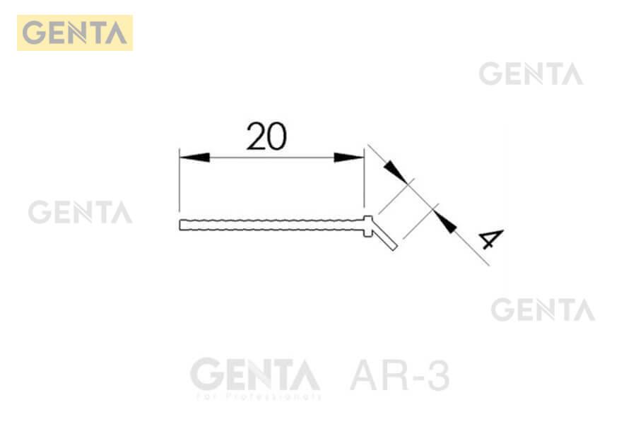 Kích thước của nẹp bo góc tròn AR-3 cho trần vách thạch cao
