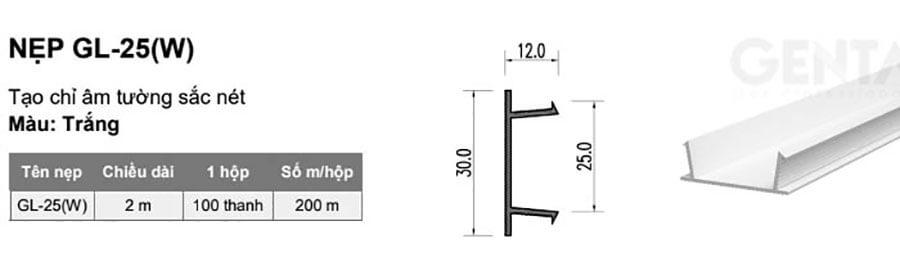 Thông số kỹ thuật nẹp chỉ âm tường 2.5cm GL-25(W)