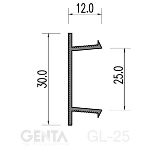 Bản vẽ nẹp chỉ âm tường GL-25