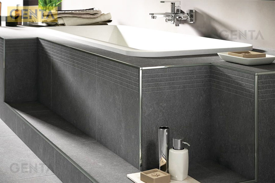 Nẹp inox bo góc vuông S-GS12 inox bóng bo cạnh bồn tắm