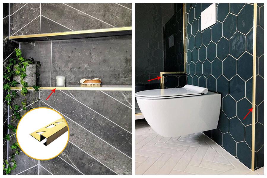 Sử dụng nẹp inox bo góc vuông S-GS10 vàng trong nhà vệ sinh