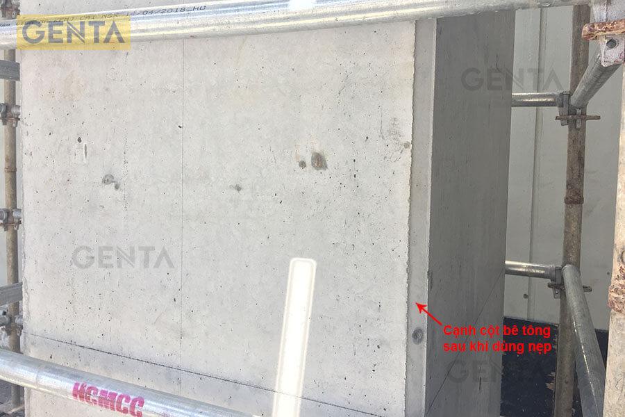 Cạnh cột bê tông sau khi dùng nẹp vát góc của GENTA