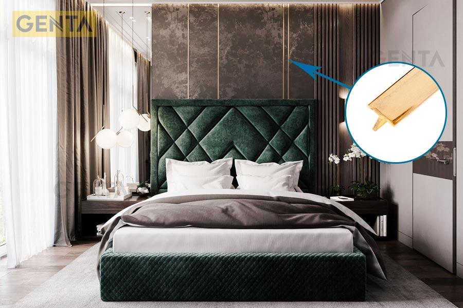 Sử dụng nẹp T vàng trang trí phòng ngủ