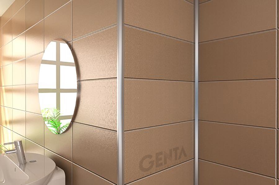 Ứng dụng nẹp góc nhôm TSAP100 bo góc vuông trong phòng tắm hiện đại