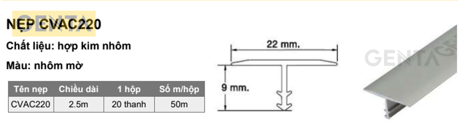 Quy cách nẹp chỉ T CVAC220 nhôm mờ