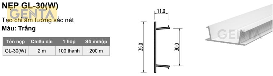 Quy cách nẹp 3cm GL-30