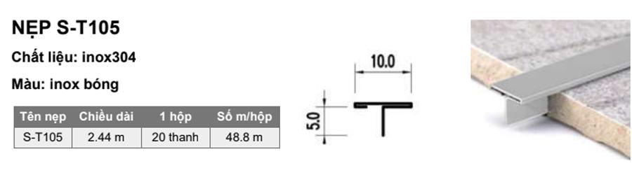 Quy cách nẹp T inox S-T105