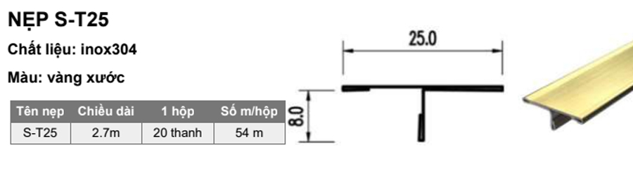 Quy cách nẹp S-T25 vàng xước