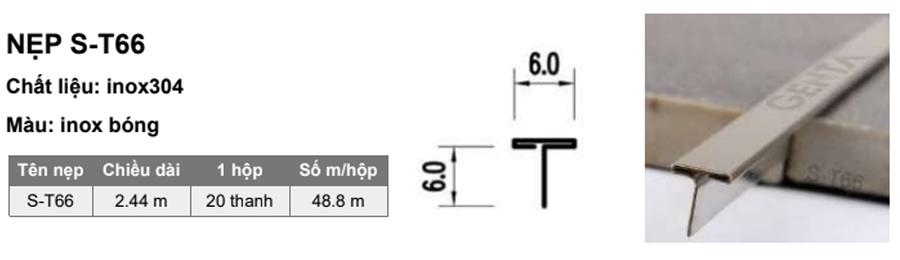 Quy cách nẹp T inox S-T66 màu inox bóng