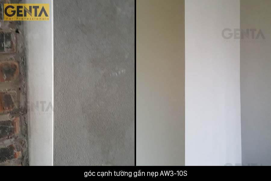 Cạnh tường hoàn thiện sắc nét sau khi dùng nẹp AW3-10S