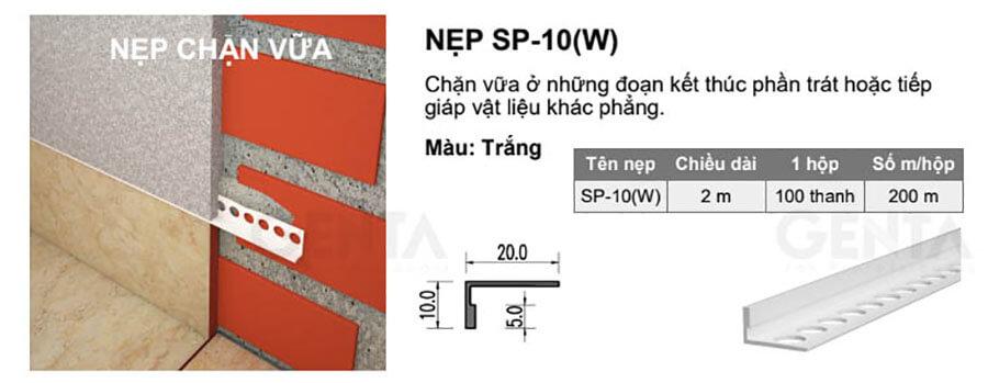 Thông số kỹ thuật nẹp chặn vữa SP-10