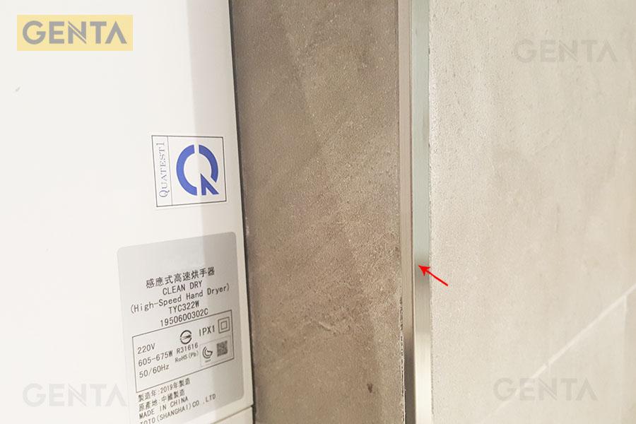 nẹp inox bo cạnh S-G520 inox xước tạo điểm nhấn trang trí cho góc ốp gạch
