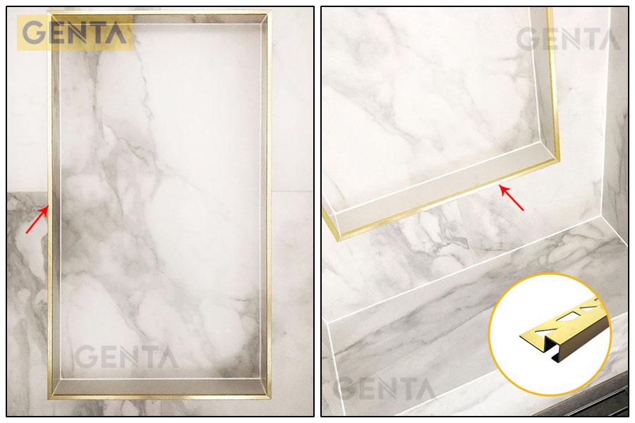 Nẹp S-GS10 vàng bóng tạo hộc để đồ âm tường